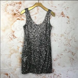 New charcoal Sequin shirt dress size S box…